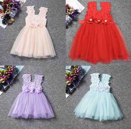 CroChet Cotton vest online shopping - Retail Fashion girls Lace Crochet Vest Dress sundress Princess Girls sleeveless crochet vest Lace dress baby party dress kids clothes