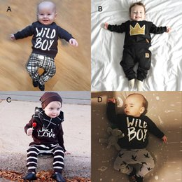 $enCountryForm.capitalKeyWord NZ - 2016 New Autumn Baby Boy Set Clothing Halloween Crown 1st Birthday Outfits For Infant Newborn T Shirt Top+Harem Pant 2PC Suit Tracksuit