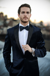 Barato Manto Preto Smoking-Ternos para homens pretos de alta qualidade Slim Fit One Button Groom Casamento Smoking Smoking Costume Costume (Jacket + Pants + Bow Tie)