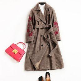 60fbf24e431b Brand Design European Double Breasted Women Wool Blends X-Long Thicken  Flower Embroidery New Woolen Coat Women s Slim Wool Overcoat Brown XL