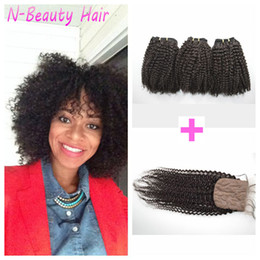 Chinese Knots Wholesale Canada - Brazilian Afro Kinky Curly Hair With Closure 100% Human Hair Bleached Knots Curly Silk Base Top Closure LaurieJ Hair