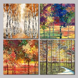 forest figures Australia - 4pcs set colorful Abstract Art trees decoration forest wall art pictures Canvas Painting poster print for living room unframed