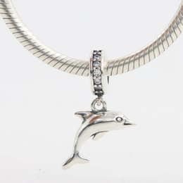silver dolphin bracelet NZ - Wholesale Silver Dolphins Charm For Necklace Bracelet 925 Sterling Silver European Charm Bead Fit Bracelets Snake Chain Fashion DIY Jewelry