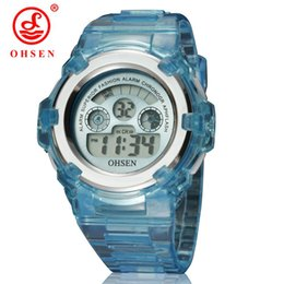 ohsen sports watches UK - New OHSEN Boys Girls Children 7 Colors LED Light Digital Multifunction Military Sports Watches Black Jelly Silicone Wrist Watch
