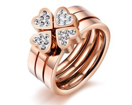 $enCountryForm.capitalKeyWord Australia - Lucky Women Four Leave Clover Ring Rose Gold 3 pcs Ring Set Heart Zircon Wedding Band Ring