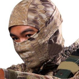 China Wholesale-5 Color Tight Camo Balaclava Tactical Hunting Outdoor Paintball Motorcycle Ski Cycling Protection Full Face Mask W1 cheap paintball full face skull mask suppliers