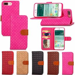 Wholesale Luxury Woven Pattern PU Leather Flip Cell Phone Wallet Stand Holder Card Slot Protector Cover Case for iphone plus S S PLUS