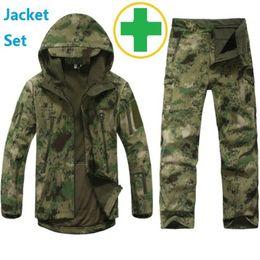 Waterproof Coatings NZ - Tactical Gear Softshell Camouflage Outdoors Jacket Men Army Waterproof Warm Camo Hunter Clothes Windbreaker Coat Military Jacket