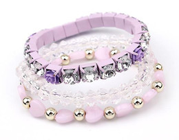 Wholesale Celtic Gifts Canada - Charms Bracelets for Women Bohemian Candy Color Beads Bracelet Bangles jewelry for women 2016 gift wrist band Multilayer Bracelets