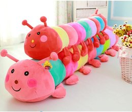 free beds for children 2019 - 70 cm Colorful caterpillar plush toy doll bed pillow girlfriend favorite doll birthday gift for children free shipping