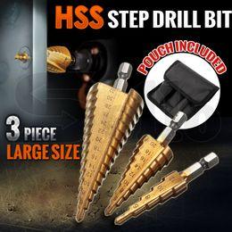Metric Drill Bits Canada - New 3pc HSS Step Cone Drill Bit Set Titanium Metric Hole Cutter 4-12 20 32mm Kit Free Shipping New 3Pcs HSS Steel Large Step Cone Drill