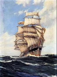 Ocean Canvas Print Art NZ - the clan mcfarlane on high seas big sail boat on the ocean Hand-painted  HD Print Seascape Art oil painting Canvas Multi sizes customized