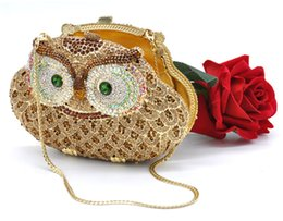 Animal Handmade Canada - Animal braccialini Owl women bags pochette handmade prom Clutch evening bags Luxury party bags crystal clutch bags