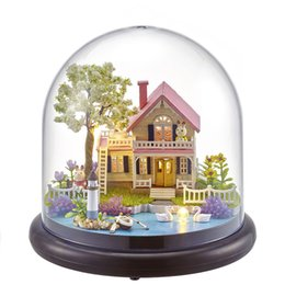 model house kit diy UK - Wholesale-NEW B021 Diy Doll House Mini Glass Ball Model Building Kits Handmade Wooden Miniature Dollhouse Toy Christmas Gift