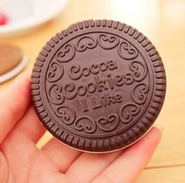 Venta al por mayor de Mini Lindo Galletas de Cacao Espejo de Bolsillo Espejo Portátil Chocolate Sandwich Galleta de Maquillaje Espejo Herramientas de Maquillaje de Plástico Envío Gratis