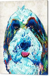 Painting Dog Portraits Canada - Giclee colorful oil painting arts and canvas wall decoration bearded collie art dog portrait by sharon cummings No Wrap - Rolled In A Tub