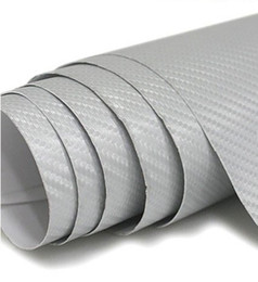 Free Shipping For 152cm x30Meter 3d Silver Carbon Fiber Car Wrapping Sticker With Air Free And Drain