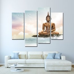 China 4 Panel Picture in Blue Sky and Sea Buddhism Buddha Painting Decor White Clouds Canvas Art Print For Living Room Decoration cheap paintings buddha suppliers