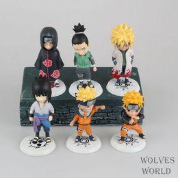 sasuke figures 2019 - 6pcs set Anime Japanese Catoon Naruto Q version Sasuke Kakashi Action Figure Collectible Model Toy cheap sasuke figures