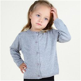 Little Girls Blue Clothing Canada - Little Girls Clothing ,Grey Knitt Cotton Baby Girls Sweater ,Solid Color 3T Girls Sweater Cardigan,Autumn Toddle Girls Clothes