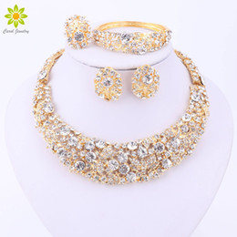 nigerian jewelry sets NZ - Nigerian Wedding African Beads Jewelry Sets Crystal Necklace Sets Gold Plated Jewelry Set Wedding Accessories Party
