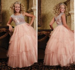 $enCountryForm.capitalKeyWord Canada - Sequins Shining Floor Length Organza Ball Gown Little Girls Pageant Dresses with Jewel Neckline Layered Organza Flower Girls' Dresses