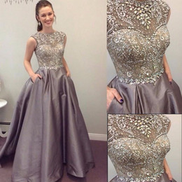 $enCountryForm.capitalKeyWord Canada - Silver Satin Prom Dresses Crystal Grey Formal Evening Gowns With Jewel Neck Sleeveless Floor Length dress gown