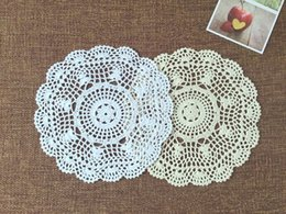Pattern Decor Australia - Set of 6 pcs ~ 28CM round chic pattern doilies, Vintage style doilies for wedding, 100% hand crocheted coasters, table mats for home decor