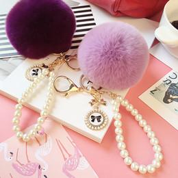 $enCountryForm.capitalKeyWord Canada - New Fashion Pearl Chain Fluffy Ball Keychain Cute Real Rex Rabbit Fur Ball Key Chain For Car Ornaments Women Bag Handbag Charm