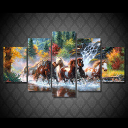 hd painting horse run Australia - 5 Piece HD Printed animal mark running horse Painting Canvas Print room decor print poster picture canvas black and white painting