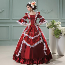 $enCountryForm.capitalKeyWord Canada - Marie Antoinette Dress Wine Red Floral Printing Renaissance Princess Dress European Court Period Costumes For Women