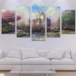 $enCountryForm.capitalKeyWord UK - 5 Panels Beautiful castle Modern Abstract Canvas Oil Painting Print Wall Art Decor for Living Room Home Decoration