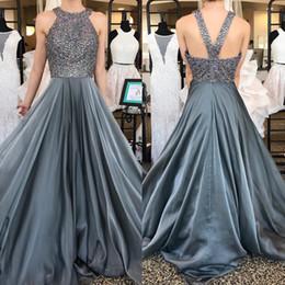 $enCountryForm.capitalKeyWord Canada - New Crystal Grey Prom Dresses 2018 Jewel Major Beading A Line Sweep Train Formal Red Carpet Evening Party Gowns Vestidos Custom Made