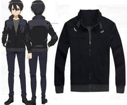 Make Sword Cosplay Canada - Cartoon Character COS Sword Art Online Kirito High Quality Anime Cosplay Costume Coat Hoodie Black Halloween