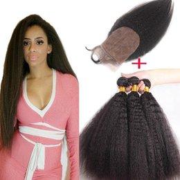 $enCountryForm.capitalKeyWord Canada - cheap silk closure with bundles 4pcs lot peruvian kinky straight coarse yaki human hair weave wefts with silk top lace closures