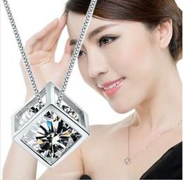 mode chaude femmes bijoux en argent sterling 925 boîte géométrique charms cristal amour cube magique pendentif pour amoureux valentines cadeau en Solde