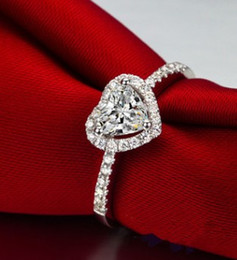 diamond cluster ring size Australia - 925 silver inlay diamond lover heart ady ring s size 6 7 8 (1688)