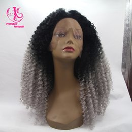 $enCountryForm.capitalKeyWord Canada - Fashion Free shipping two tone black to gray curly wig ombre glueless synthetic lace front wig heat resistant curly wig