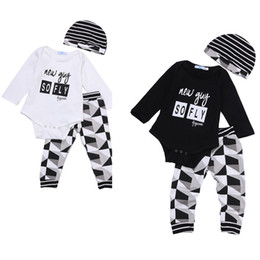 Chinese  fashion Baby Boy Girl sets Kids Newborn Infant new guy so fly funny letter printed Romper+pants+Hat bodysuit Outfits top Clothing Set 3pcs manufacturers
