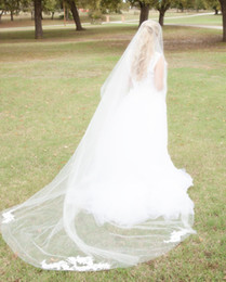 Hot Veils Canada - New Hot Saling Cathedral Cut Applique Edge Bridal Veil White Ivory Wedding Veils One Layer Without Comb