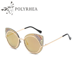 Fashion Female Sunglasses Canada - Top Quality Cat Eye Sunglasses Fashion Women Brand Designer Sun Glasses Brown Female Mirror UV400 Lens Shade With Box And Cases