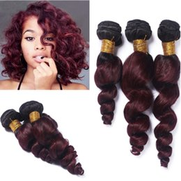 dark roots burgundy brazilian hair UK - New Arrival Dark Root Two Tone Burgundy Human Hair Bundles #1B 99J Brazilian Human Hair Extensions Ombre Hair Weaves For Black Woman