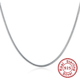 "mm snake chain Australia - Fine Jewelry 100% 925 Sterling Silver Necklace Fit Pandora Snake Chain for Men Women 3 mm 18"" 20"" 22"" 24"" Inches"