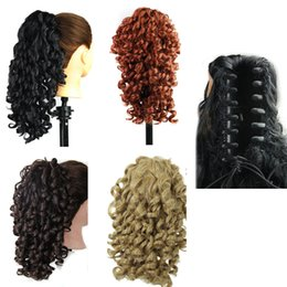curly synthetic ponytail Canada - Synthetic Claw hair ponytail Kinky curly wavy clip ponytails 19inch 165G synthetic hair pieces extensions more colors
