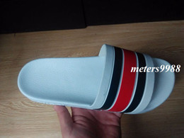Wholesale mens fashion striped slide sandals with rubber sole male summer outdoor indoor causal beach web rubber sandals size euro