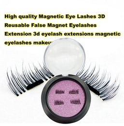 Soft False Eyelashes Canada - 3D magnetic False eyelash, without glue magnetic adsorption, comfortable soft black terrier can be used repeatedly 4 PCS = 1 PAIR