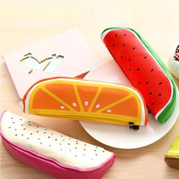 Watermelon Cosmetic Bags Cases Australia - Lovely Fruit Shape Cosmetic Bag Watermelon Orange Pen Bags Cute Stationery Bags Storage Pencil Case Casual Travel Makeup Case