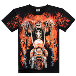 fire printed t shirts NZ - New Men's Fashion 3D Full Printed Skull T-shirt Soul of The First Fashion Skeleton Fire Fighting Cotton Short Sleeve