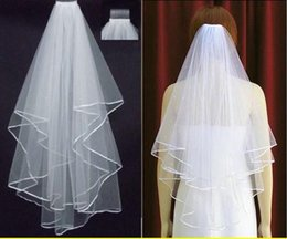 $enCountryForm.capitalKeyWord NZ - Free Shipping 2017 White Ivory Bridal Veils 2 Layers With Comb Pearls Ribbon Edge Tulle Veil for Church Wedding Bride In Stock