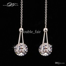 Doublure Pas Cher-2015 Nouvelle élégante 2 Carat AAA + CZ Diamond Drop Line Boucles d'oreilles Platinum Plaated Fashion Cubic Zircon Party Jewelry For Women DFE684